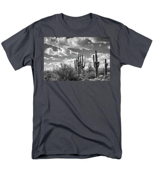 Men's T-Shirt  (Regular Fit) featuring the photograph Saguaro And Blue Skies Ahead In Black And White  by Saija Lehtonen