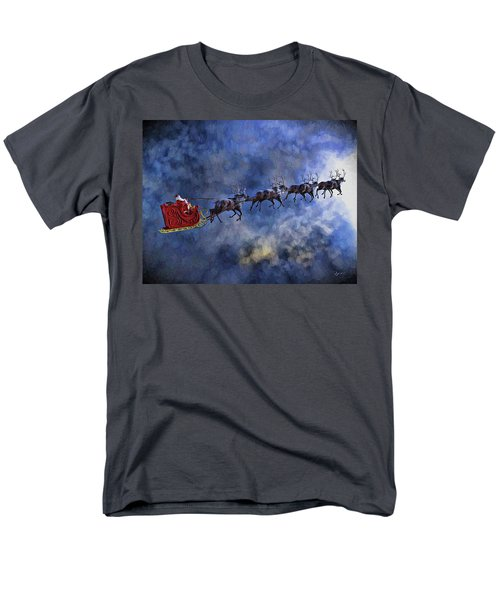 Santa And Reindeer Men's T-Shirt  (Regular Fit) by Dave Luebbert