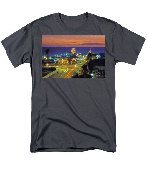 Men's T-Shirt  (Regular Fit) featuring the photograph Santa Monica Ca  Pacific Park Pier by David Zanzinger