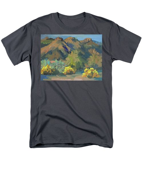 Men's T-Shirt  (Regular Fit) featuring the painting Santa Rosa Mountains And Brittle Bush by Diane McClary