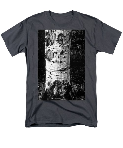 Scarred Old Aspen Tree Trunk In Colorado Forest Men's T-Shirt  (Regular Fit) by John Brink