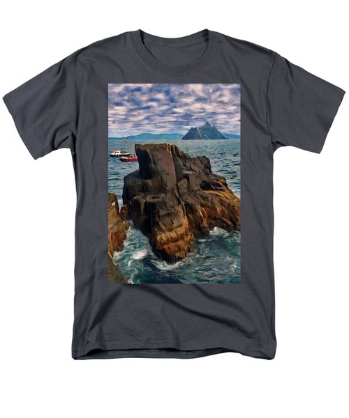 Men's T-Shirt  (Regular Fit) featuring the painting Sea And Stone by Jeff Kolker