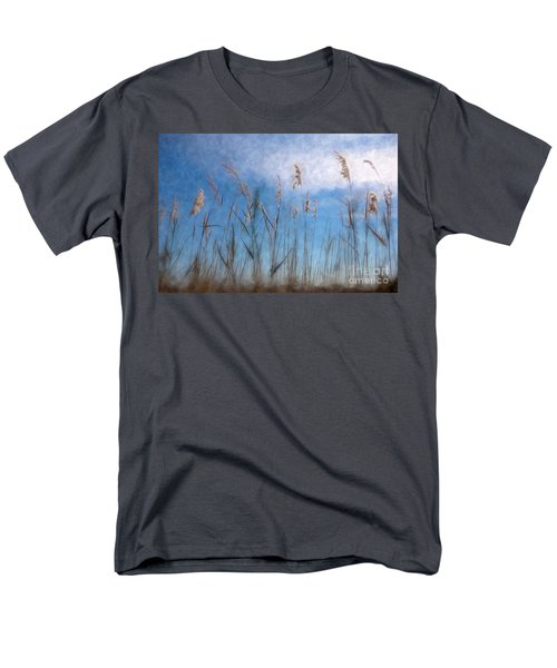 Men's T-Shirt  (Regular Fit) featuring the painting Sea Oats And Sky On Outer Banks Ap by Dan Carmichael