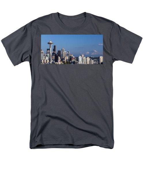 Seattle And Mt Rainier Men's T-Shirt  (Regular Fit) by Ed Clark