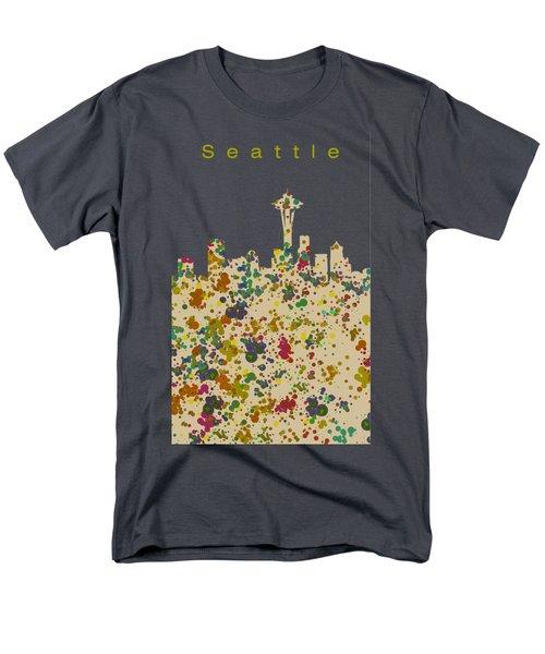 Seattle Skyline 1 Men's T-Shirt  (Regular Fit) by Alberto RuiZ