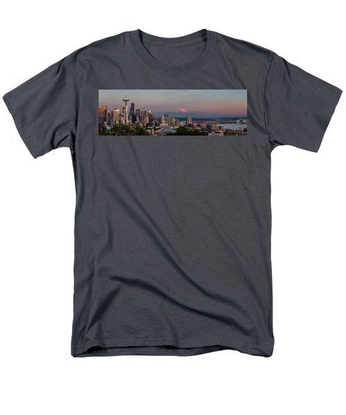 Men's T-Shirt  (Regular Fit) featuring the photograph Seattle Skyline And Mt. Rainier Panoramic Hd by Adam Romanowicz