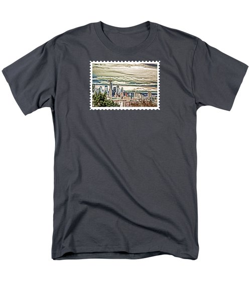 Seattle Skyline In Fog And Rain Men's T-Shirt  (Regular Fit) by Elaine Plesser