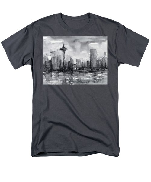 Seattle Skyline Painting Watercolor  Men's T-Shirt  (Regular Fit) by Olga Shvartsur