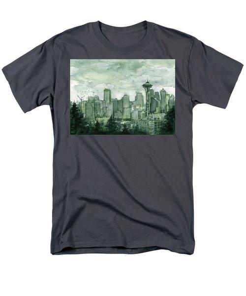Seattle Skyline Watercolor Space Needle Men's T-Shirt  (Regular Fit) by Olga Shvartsur