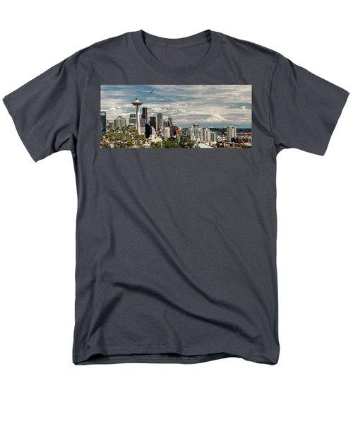 Seattle Space Needle With Mt. Rainier Men's T-Shirt  (Regular Fit) by Tony Locke