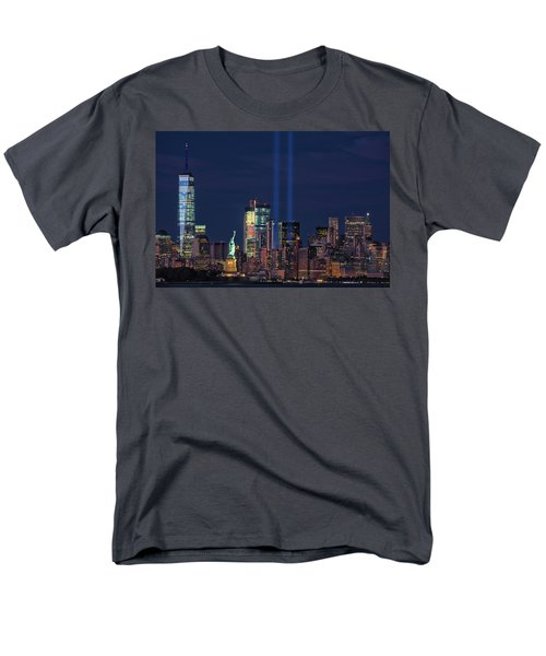 Men's T-Shirt  (Regular Fit) featuring the photograph September 11tribute In Light by Emmanuel Panagiotakis