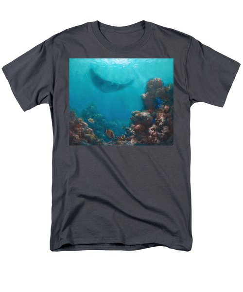 Serenity - Hawaiian Underwater Reef And Manta Ray Men's T-Shirt  (Regular Fit) by Karen Whitworth