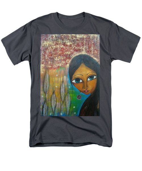 Men's T-Shirt  (Regular Fit) featuring the mixed media Shower Of Roses by Prerna Poojara