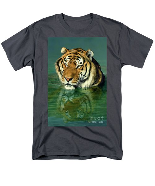 Siberian Tiger Reflection Wildlife Rescue Men's T-Shirt  (Regular Fit) by Dave Welling