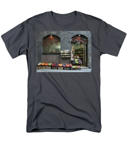 Men's T-Shirt  (Regular Fit) featuring the photograph Siena Italy Fruit Shop by Mark Czerniec