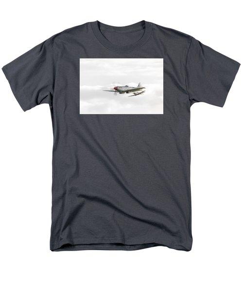 Silver Spitfire In A Cloudy Sky Men's T-Shirt  (Regular Fit) by Gary Eason
