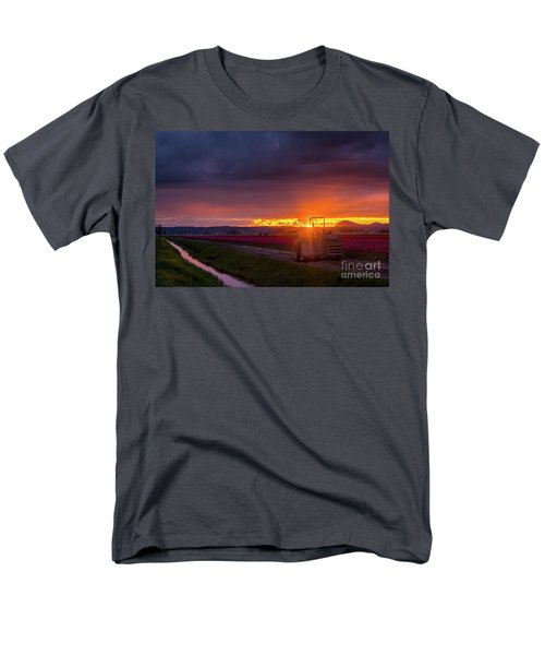 Men's T-Shirt  (Regular Fit) featuring the photograph Skagit Valley Tractor Sunstar by Mike Reid