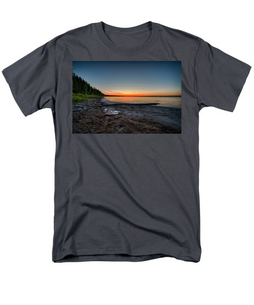 Men's T-Shirt  (Regular Fit) featuring the photograph Skeleton Lake Beach At Sunset by Darcy Michaelchuk