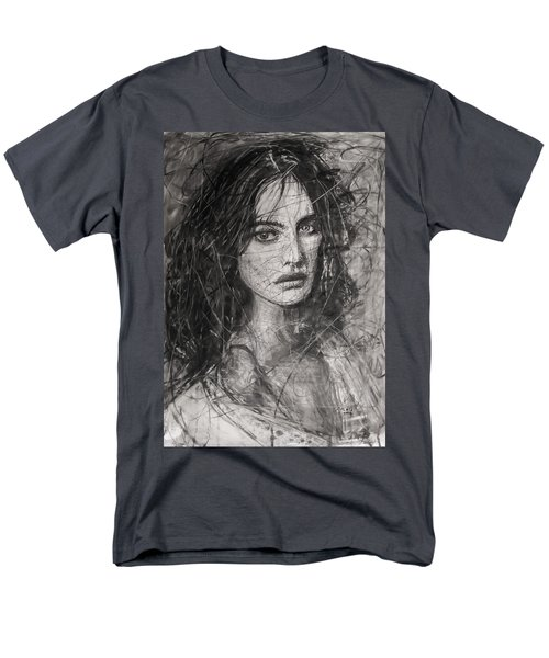 Men's T-Shirt  (Regular Fit) featuring the painting Smoky Noir... Ode To Paolo Roversi And Natalia Vodianova  by Jarko Aka Lui Grande