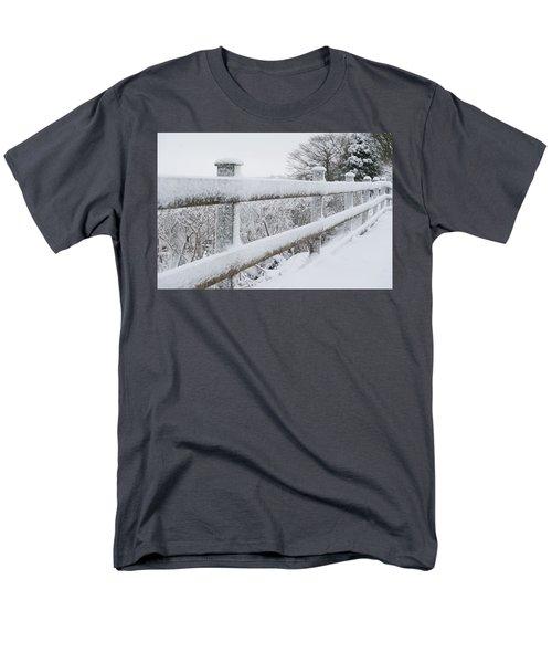 Snow Covered Fence Men's T-Shirt  (Regular Fit) by Helen Northcott