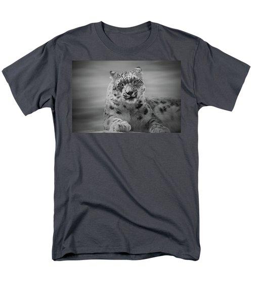 Men's T-Shirt  (Regular Fit) featuring the photograph Snow Leopard  Bw by Sandy Keeton