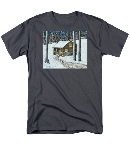 Snow On Cabin Men's T-Shirt  (Regular Fit) by Reb Frost