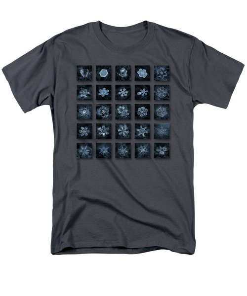 Men's T-Shirt  (Regular Fit) featuring the photograph Snowflake Collage - Season 2013 Dark Crystals by Alexey Kljatov
