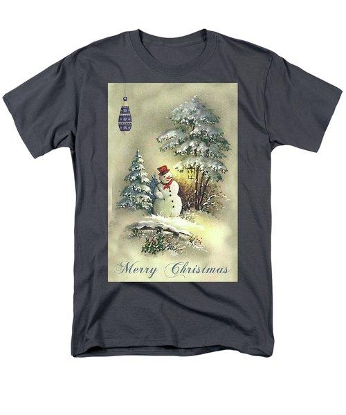 Men's T-Shirt  (Regular Fit) featuring the digital art Snowman Christmas Card by Greg Sharpe