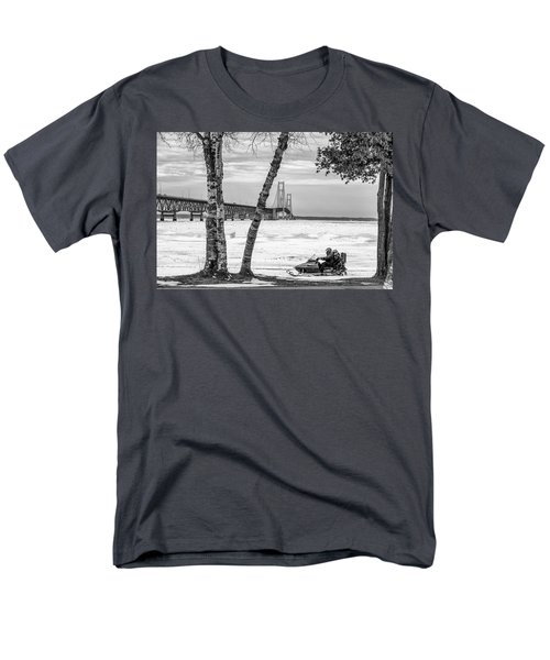 Men's T-Shirt  (Regular Fit) featuring the photograph Snowmobile Michigan Black And White  by John McGraw
