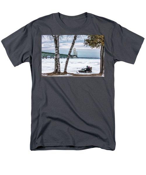 Men's T-Shirt  (Regular Fit) featuring the photograph Snowmobile Michigan  by John McGraw
