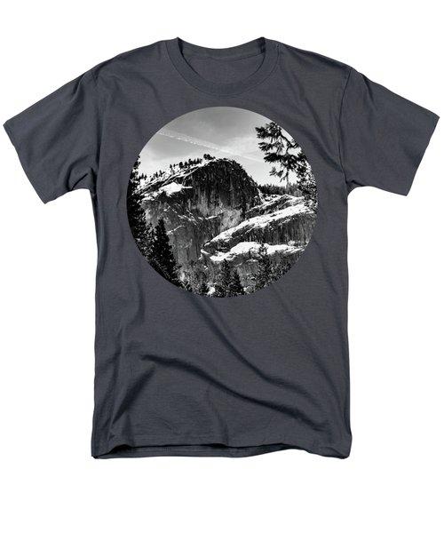 Snowy Sentinel, Black And White Men's T-Shirt  (Regular Fit) by Adam Morsa