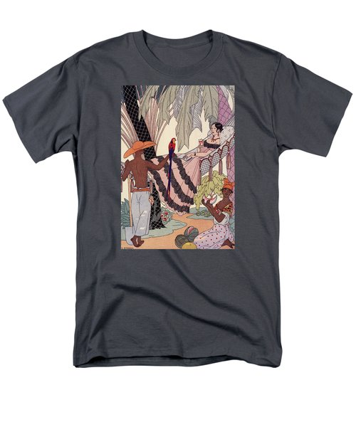 Spanish Lady In Hammock With Parrot Men's T-Shirt  (Regular Fit) by Georges Barbier