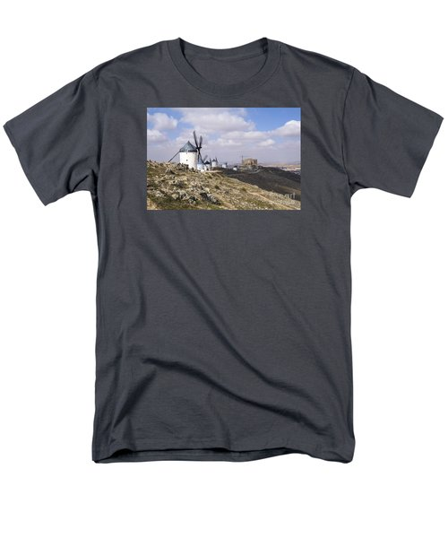 Spanish Windmills And Castle Of Consuegra Men's T-Shirt  (Regular Fit) by Perry Van Munster