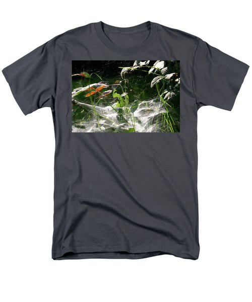 Men's T-Shirt  (Regular Fit) featuring the photograph Spiderweb Over Rose Plants by Emanuel Tanjala