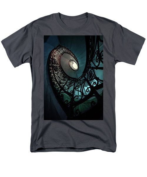 Men's T-Shirt  (Regular Fit) featuring the photograph Spiral Ornamented Staircase In Blue And Green Tones by Jaroslaw Blaminsky
