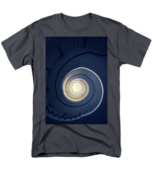 Men's T-Shirt  (Regular Fit) featuring the photograph Spiral Staircase In Blue And Cream Tones by Jaroslaw Blaminsky