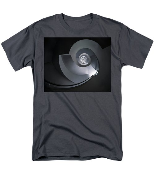 Spiral Staircase In Grey And Blue Tones Men's T-Shirt  (Regular Fit) by Jaroslaw Blaminsky