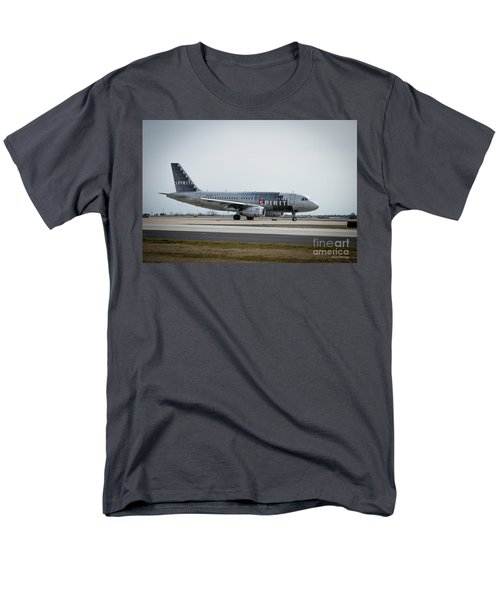 Men's T-Shirt  (Regular Fit) featuring the photograph Spirit Airlines A319 Airbus N523nk Airplane Art by Reid Callaway
