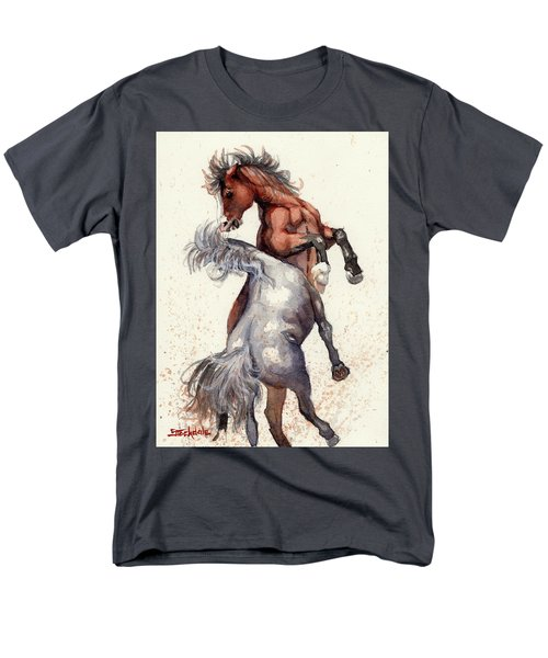 Men's T-Shirt  (Regular Fit) featuring the painting Stallion Showdown by Margaret Stockdale
