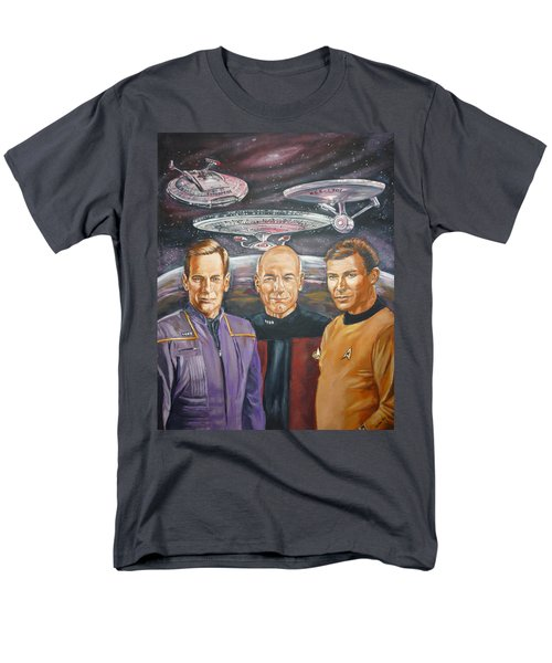 Star Trek Tribute Enterprise Captains Men's T-Shirt  (Regular Fit) by Bryan Bustard