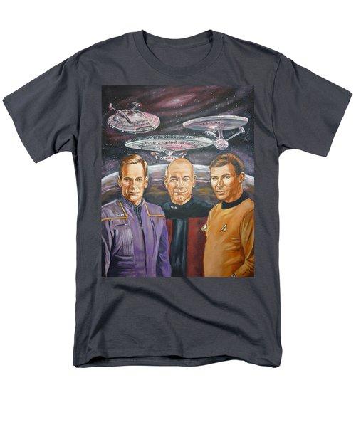 Men's T-Shirt  (Regular Fit) featuring the painting Star Trek Tribute Enterprise Captains by Bryan Bustard