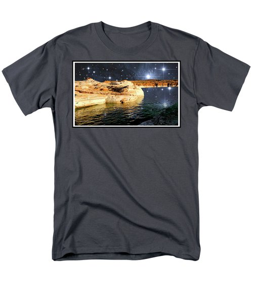 Starry Night Fantasy, Lake Powell, Arizona Men's T-Shirt  (Regular Fit) by A Gurmankin NASA STSci