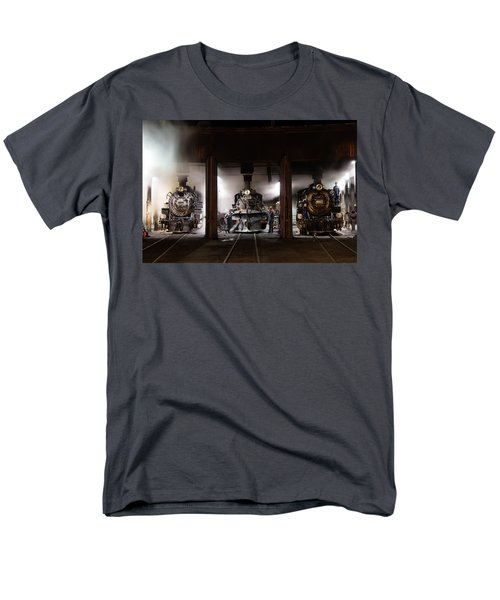 Men's T-Shirt  (Regular Fit) featuring the photograph Steam Locomotives In The Roundhouse Of The Durango And Silverton Narrow Gauge Railroad In Durango by Carol M Highsmith