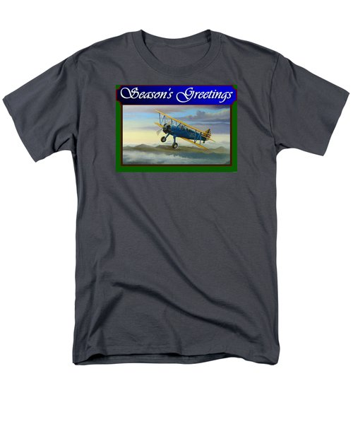 Stearman Christmas Card Men's T-Shirt  (Regular Fit) by Stuart Swartz