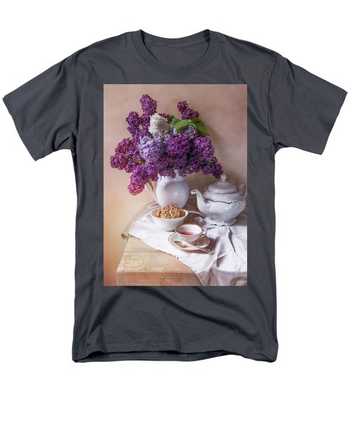 Men's T-Shirt  (Regular Fit) featuring the photograph Still Life With Fresh Lilac And China Pots by Jaroslaw Blaminsky