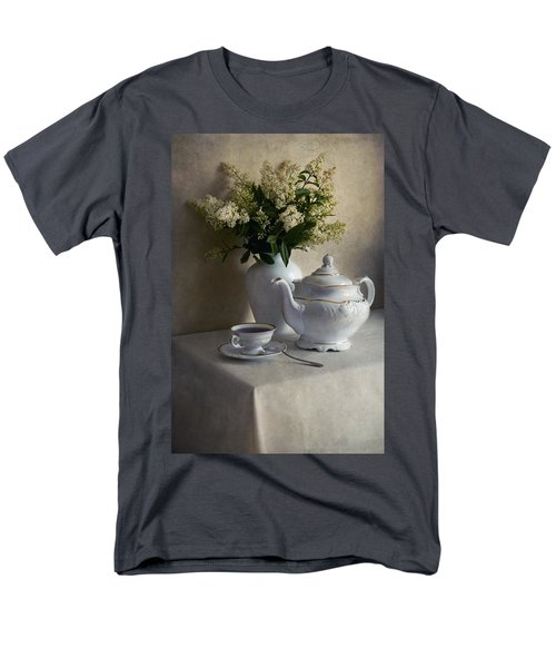 Still Life With White Tea Set And Bouquet Of White Flowers Men's T-Shirt  (Regular Fit)
