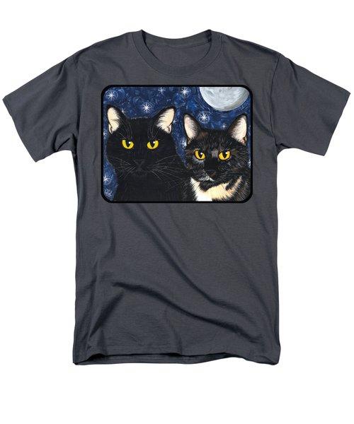 Strangeling's Felines - Black Cat Tortie Cat Men's T-Shirt  (Regular Fit) by Carrie Hawks