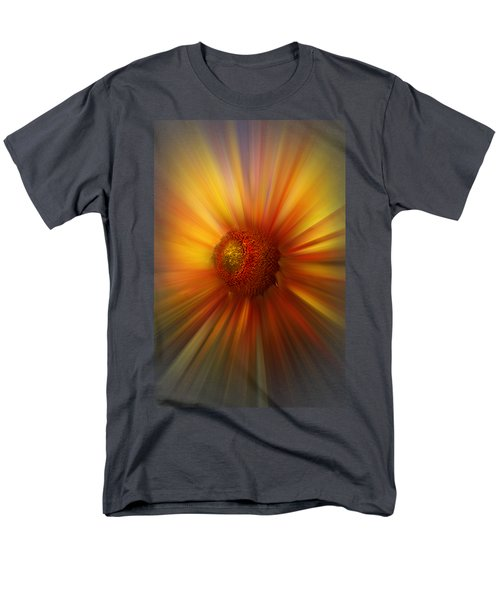 Men's T-Shirt  (Regular Fit) featuring the photograph Sunflower Dawn Zoom by Debra and Dave Vanderlaan