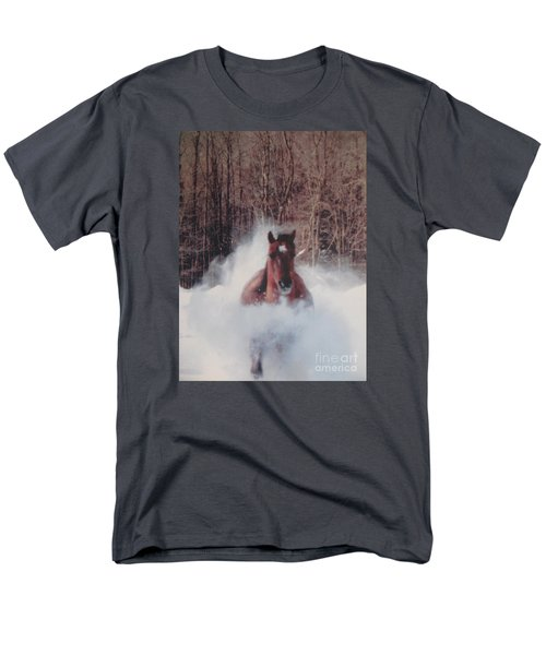 Men's T-Shirt  (Regular Fit) featuring the photograph Sunny Running For The Barn. by Jeffrey Koss