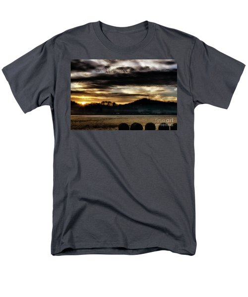 Men's T-Shirt  (Regular Fit) featuring the photograph Sunrise And Hay Bales by Thomas R Fletcher